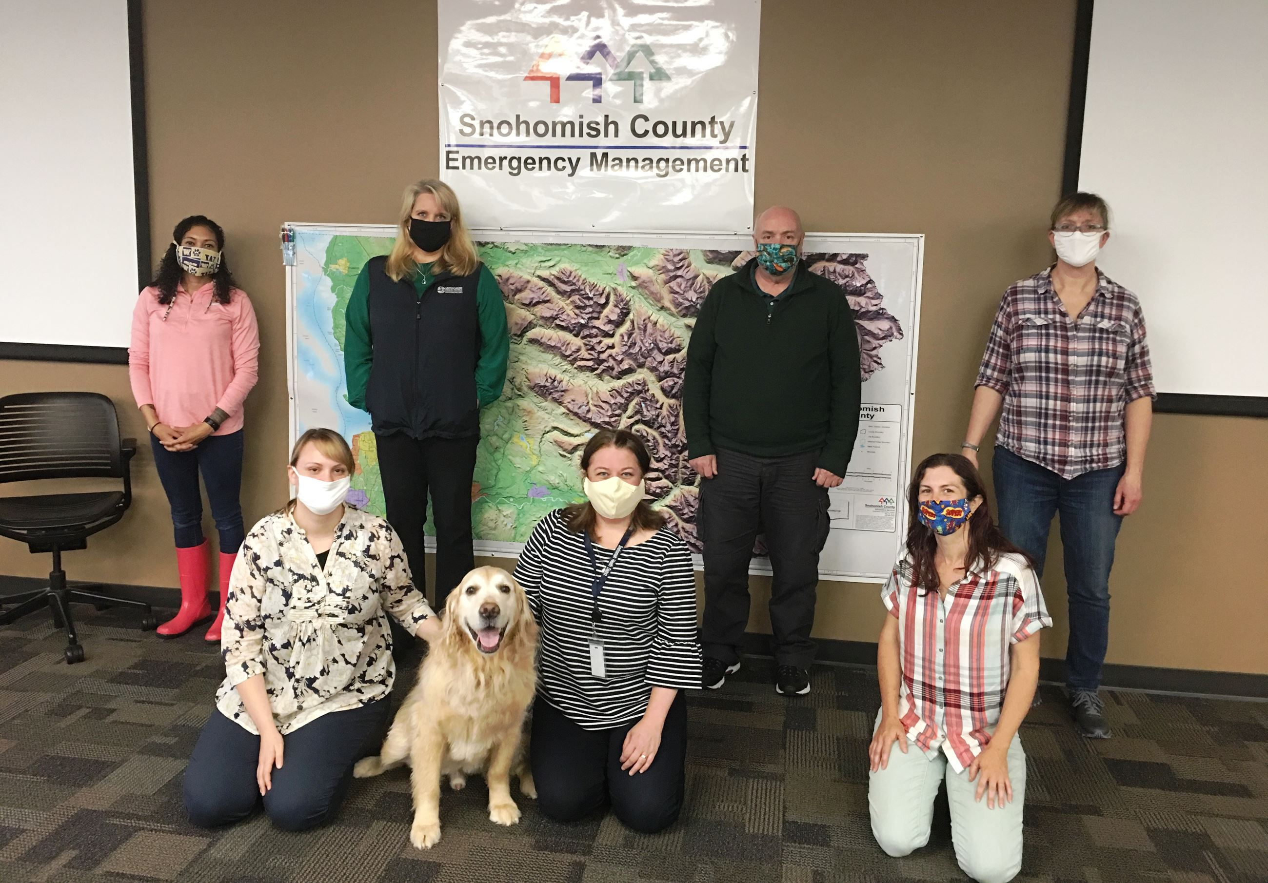 Snohomish County DEM staff in face covers