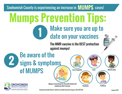 Mumps flyer with tips about vaccinating with the MMR vaccine and symptoms to look out for