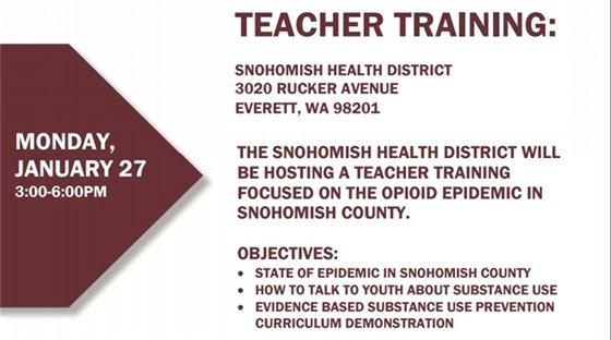 Teacher Training on Monday January 27, 3 to 6 p.m., at 3020 Rucker Avenue