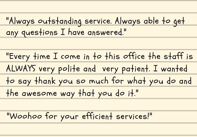 Customer service comments on a card