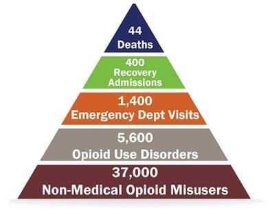 A triangle showing the relationship between opioid deaths, recovery admissions, emergency department