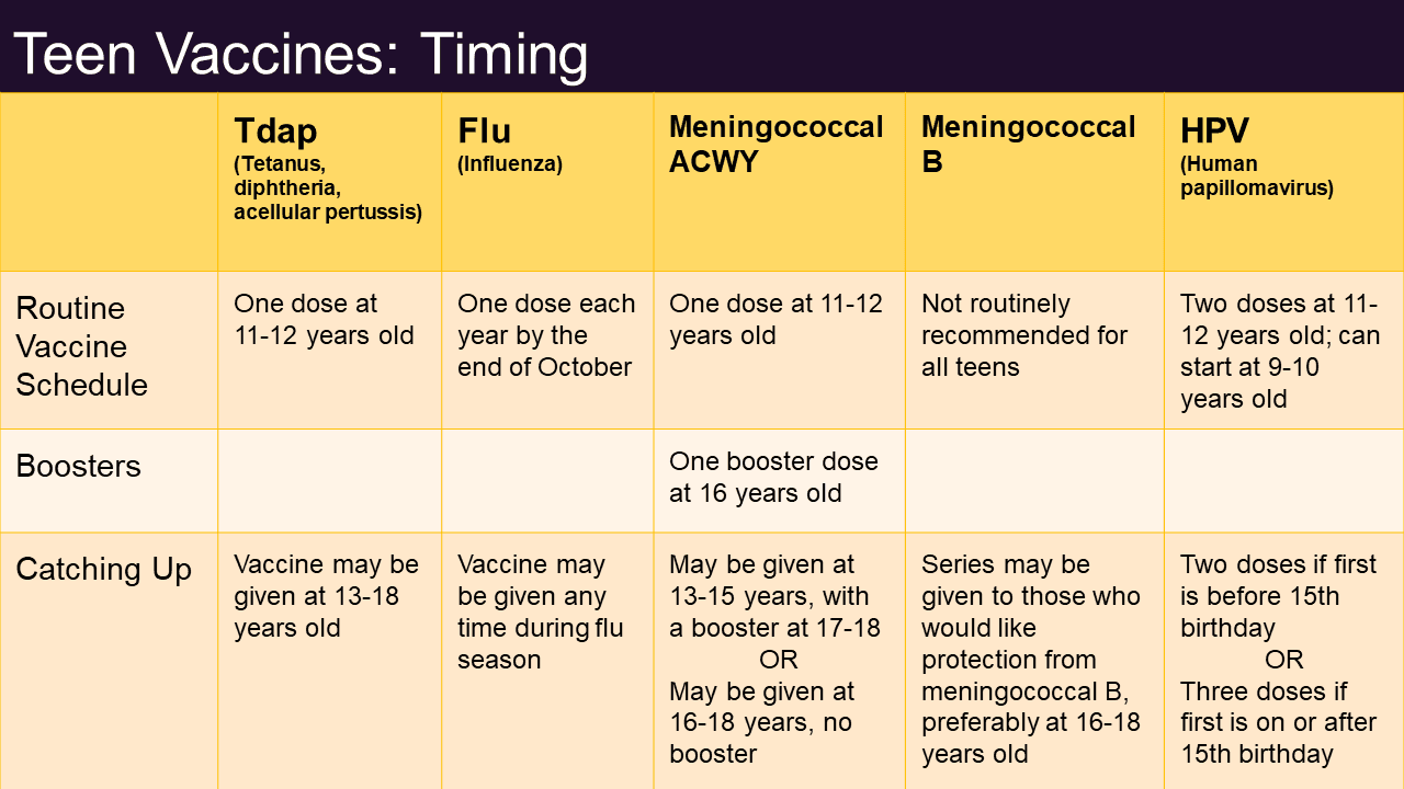 Table showing timings for vaccines from ages 11 to 18